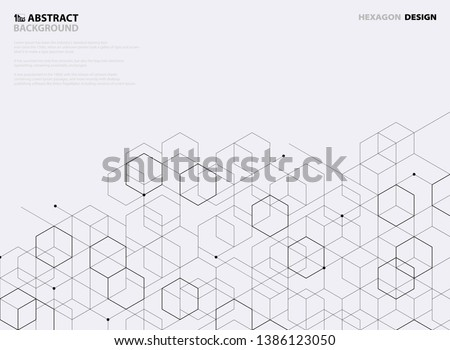 Abstract black hexagon pattern design on white background. You can use for cover design, business template, artwork, tech print, annual report. illustration vector eps10 #1386123050