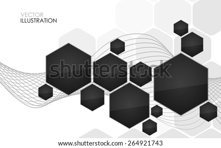 Abstract black hexagon. Vector Illustration. Clip-art