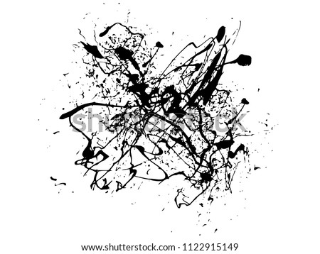 Abstract Background Of Black Ink Splash And Lines