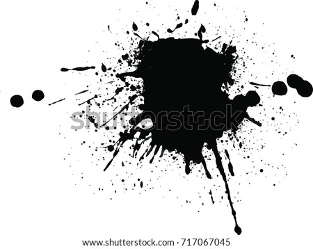 Abstract black Ink splash background, grunge vector design template - paint brush