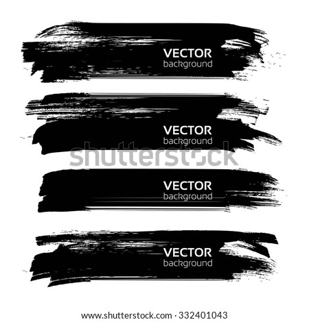 Abstract black long thick textured brush strokes isolated on white background