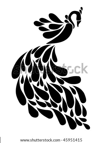 abstract black peacock - stock vector