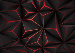 Abstract black polygon red light futuristic technology design background vector illustration.
