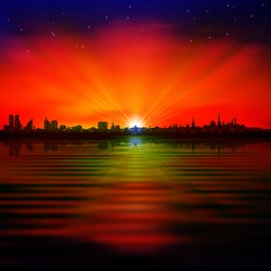 abstract black red background with silhouette of Tallinn and sunset