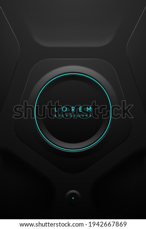 Abstract black technology background with light circle ring stock photo