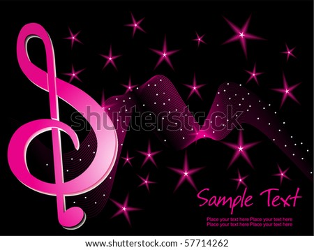 Abstract black twinkle star background with wave musical notes stock