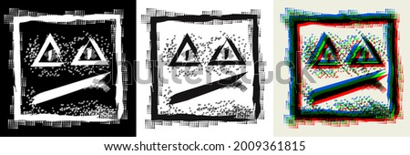 Abstract black white and 3d color square ugly face with triangular eyes in the style of simple street graffiti