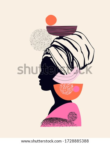 Abstract black woman profile in geometric ethnic style. Natural beauty silhouettes drawing with geometrical shapes, grainy grunge textures, doodles. Vector fashion illustration