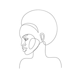 Abstract black woman profile in modern one line style. Natural beauty continuous line simple drawing. Afro girl isolated on white background. Vector fashion illustration