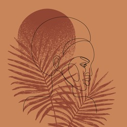 Abstract black woman profile in modern one line style. Natural beauty continuous line simple drawing. Afro girl on palm leaves background. Vector fashion illustration in eco style