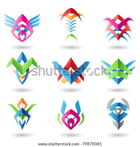 Abstract blade like icons resembling wings, fish and fish bones