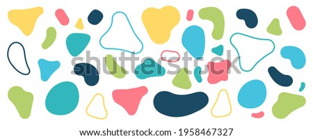 Abstract blobs background. Blobs pattern. Liquid shape. Background of stones. Drops or stone silhouettes. Vector set of colorful blobs and rock.