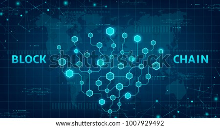 Abstract Blockchain concept Web Banner. Modern Concept of Digital Technology in the Shape of Block Chain with Binary Code Cells. Vector Illustration with Network Circuit.