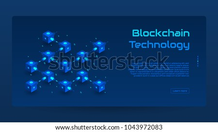 Abstract Blockchain isometric concept banner. Modern Concept of Digital Technology in the Shape of Block Chain net. Vector Illustration.