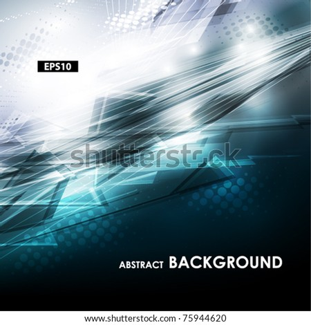 Abstract blue and grey tech card with lighting effect. Vector