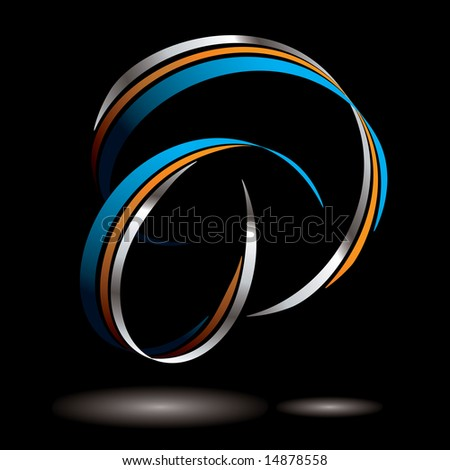 Abstract blue and orange ribbon with drop shadow
