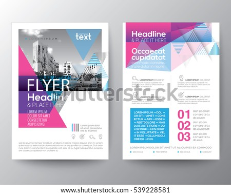 Abstract Blue and Pink geometric background for Poster Brochure Flyer design Layout vector template in A4 size #539228581