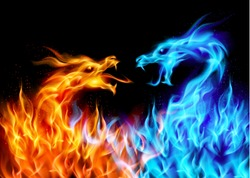 Abstract blue and red fiery dragons. Illustration on black background for design