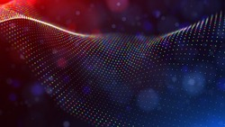 Abstract blue and red particles background. Flow wave with dot landscape. Digital data structure. Future mesh or sound grid. Pattern point visualization. Technology vector illustration.