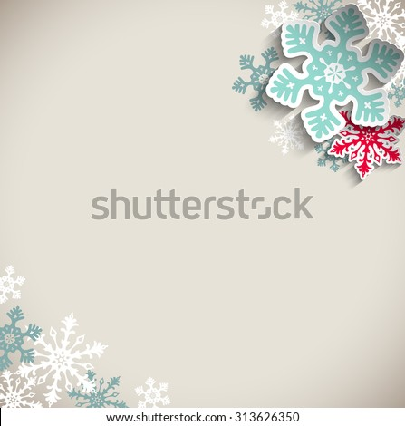 Abstract  blue and red snowflakes on beige background with 3D effect, winter concept, vector illustration, eps 10 with transparency #313626350