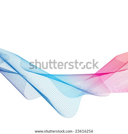 Abstract blue and red wave. Vector