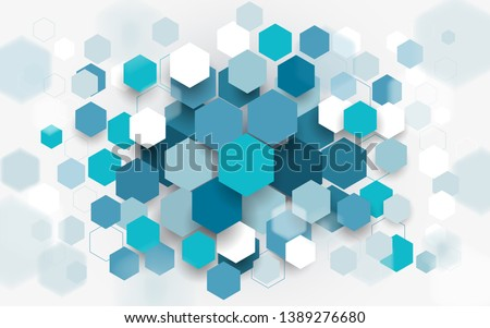 Abstract blue and white hexagons background. Technology digital hi tech concept