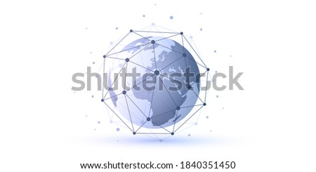 Abstract Blue and White Minimal Style Cloud Computing, Networks Structure, Telecommunications Concept Design, Network Connections, Transparent Geometric Mesh, Earth Globe - Vector Illustration ストックフォト ©