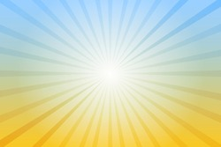 Abstract blue and yellow background with sun ray. Summer vector illustration for design