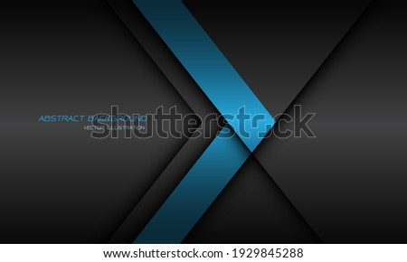Abstract blue arrow direction dark grey shadow line with text on blank space design modern futuristic background vector illustration.