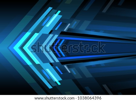 abstract blue arrow light zoom