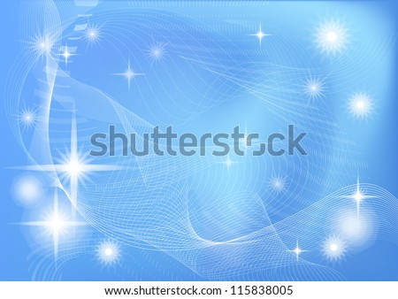 Abstract blue background for holiday design with white stars and curves. Eps10, contains transparencies. Vector
