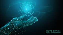 Abstract blue background. Futuristic pattern. Molecular biology. Technologies of the future. Geometry and Mathematics. Human hand from polygonal mesh. Polygonal transparent sphere. Virtual reality.