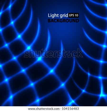 Abstract blue background. Glowing grid. - stock vector