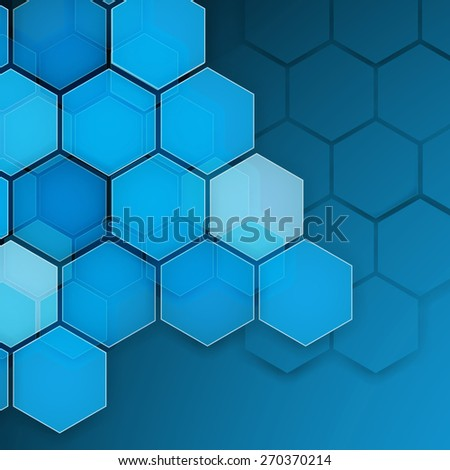 Abstract blue background hexagon. Vector illustration. Clip-art