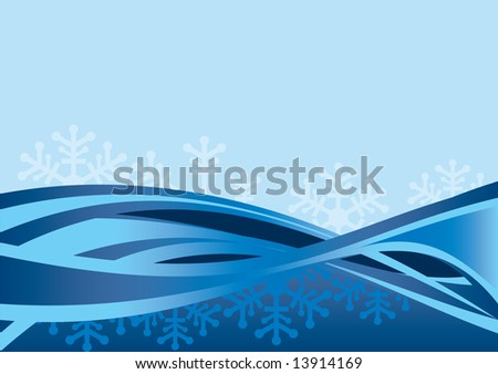 Abstract blue background made of curved lines and snow flakes