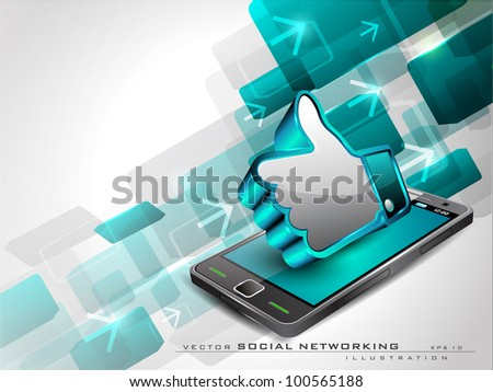 stock vector : Abstract blue background with arrows, mobile and 3D thumb up ...