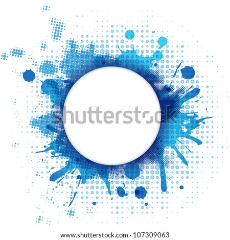 Abstract Blue Background With Blob And Bubble, Vector Illustration