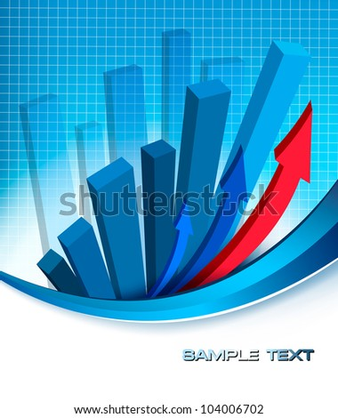 Abstract blue background with diagram. Vector.