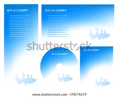 Abstract Blue Background with flock of geese on white with copy space