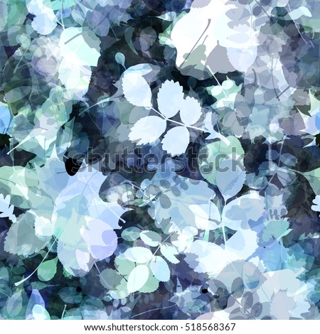 Abstract blue background with foliage & spots. Oak leaves, birch, alder, beech, maple, aspen. The leaves of trees and shrubs. Seamless floral pattern. Watercolor effect. Transparency. Overlay. Overlap