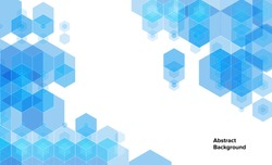 Abstract blue background with hexagons and copyspace