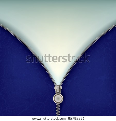 abstract blue background with open steel zipper