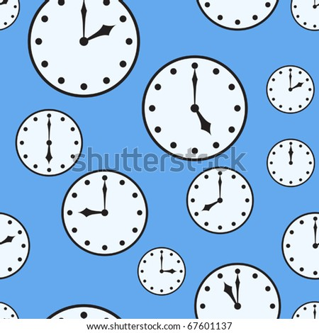 Abstract blue background with ornament of silhouettes a office clocks. Seamless pattern. Vector illustration.