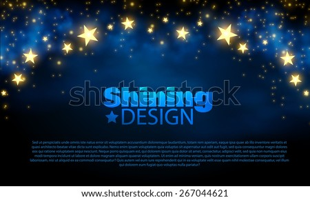 Abstract blue background with shining stars. Vector illustration