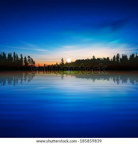 abstract blue background with sunrise and forest lake