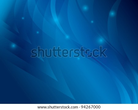 abstract blue background with waves - vector