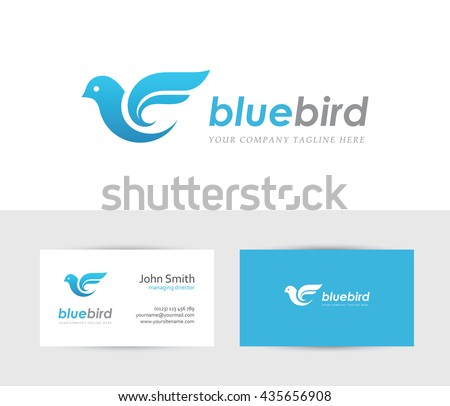 abstract blue bird icon with