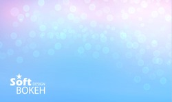 Abstract blue bokeh background. Soft design. Vector illustration