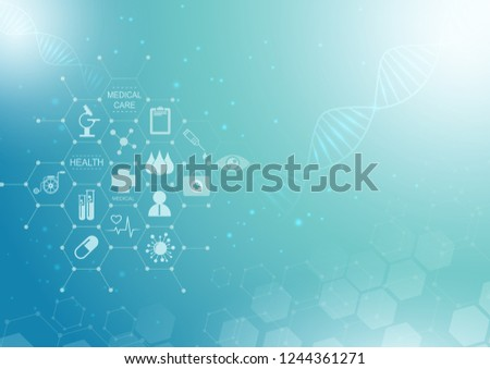 Abstract blue bright background. health care icon pattern medical innovation concept design.Vector illustration.