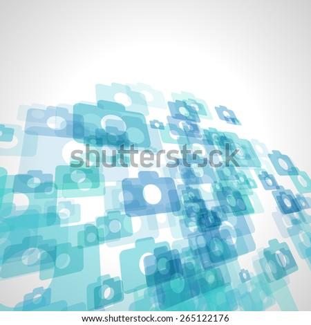 abstract blue camera vector